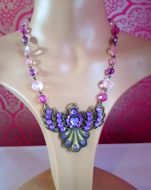 Fantasy angel and bead necklace