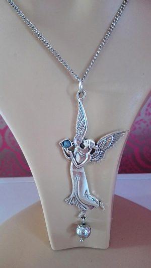 Silver nouveau angel and jewel necklace closeup
