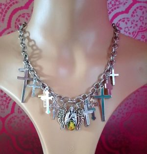 Silver angel and multi cross necklace