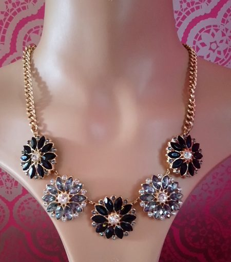 Black and crystal jewel flower necklace