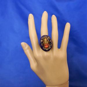 Hanuman purple 3D cameo ring