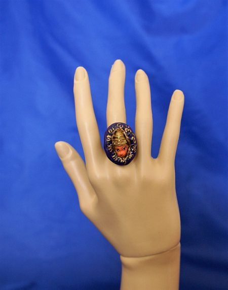 Hanuman purple 3D cameo ring