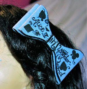 Alice in Wonderland inspired clip bow