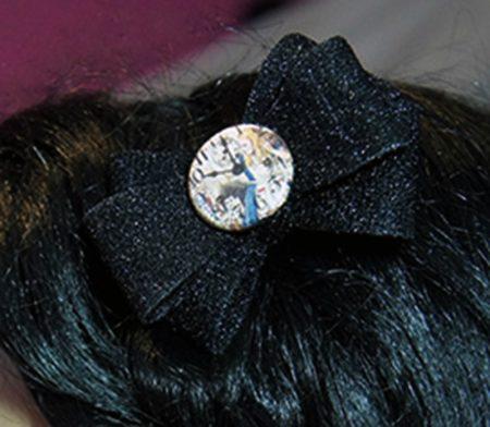 Alice in Wonderland lolita black bow hair clip