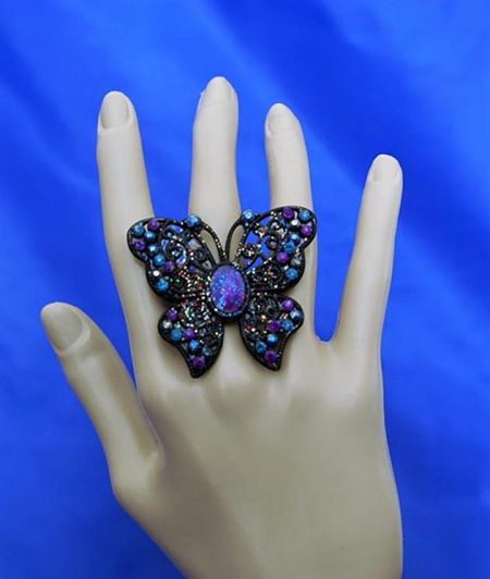 Jewelled cameo black butterfly ring