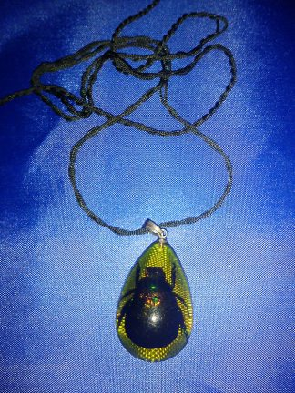 Black real beetle pendant necklace