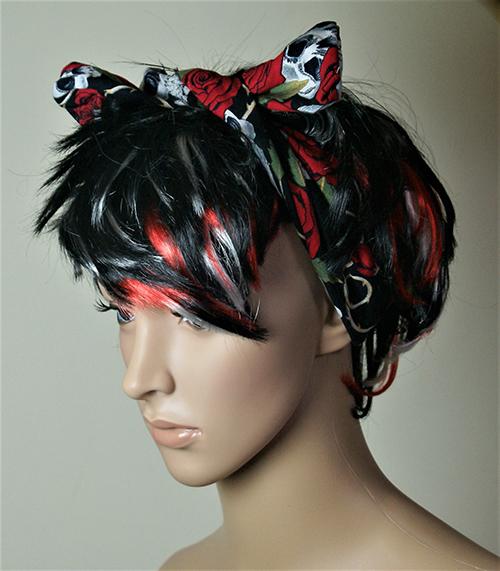 Rose and skull hair band