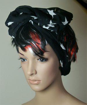 Black with white stars hair band