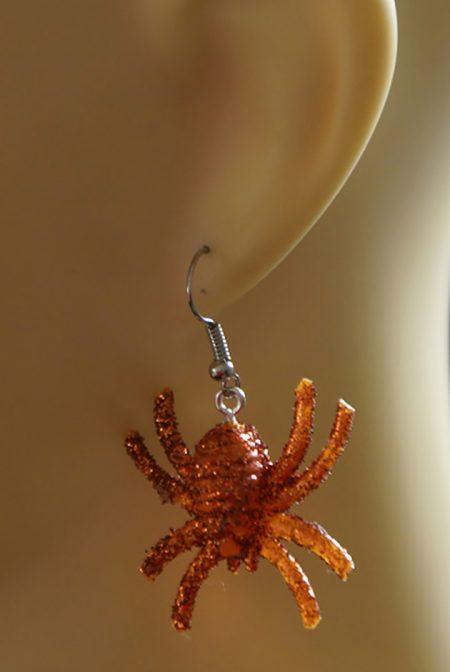 Orange 3D shimmer spider earrings