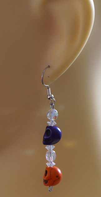 Orange and purple skulls with crystal bead earrings