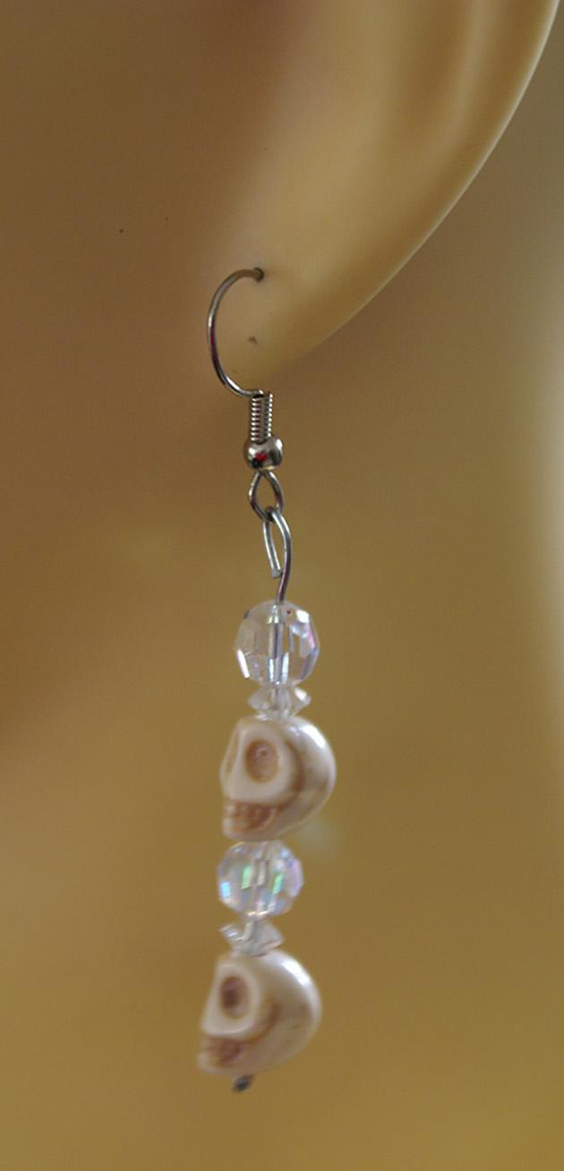 Gothic Lolita cream skull and crystal bead earrings