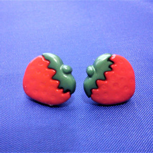 Red 3D strawberry stud earrings