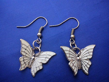 White fantasy Lolita butterfly earrings