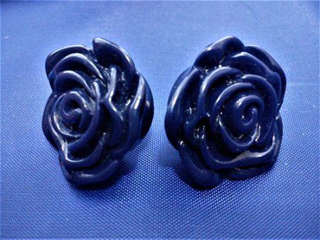 Dark blue 3D rose stud earrings