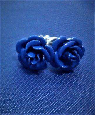Royal blue 3D rose stud earrings