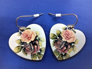 Pink and purple cameo heart earrings