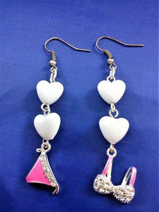 Lolita punk bra and brief drop heart bead earrings