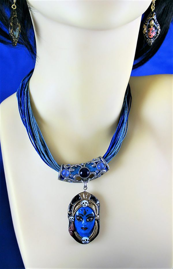 Kali 3D colour cameo and blue bead necklace