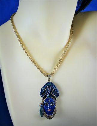 Krishna peacock crown 3D pendant necklace