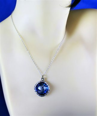 OM blue ball pendant necklace