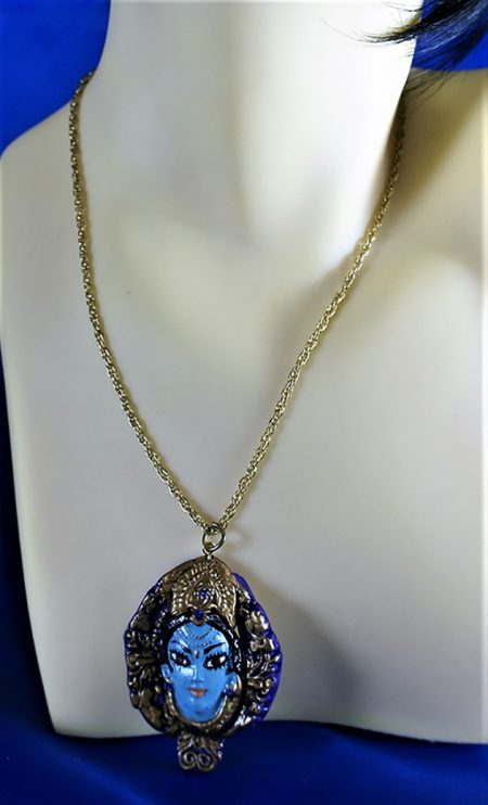 Krishna 3D face in a majestic cameo necklace