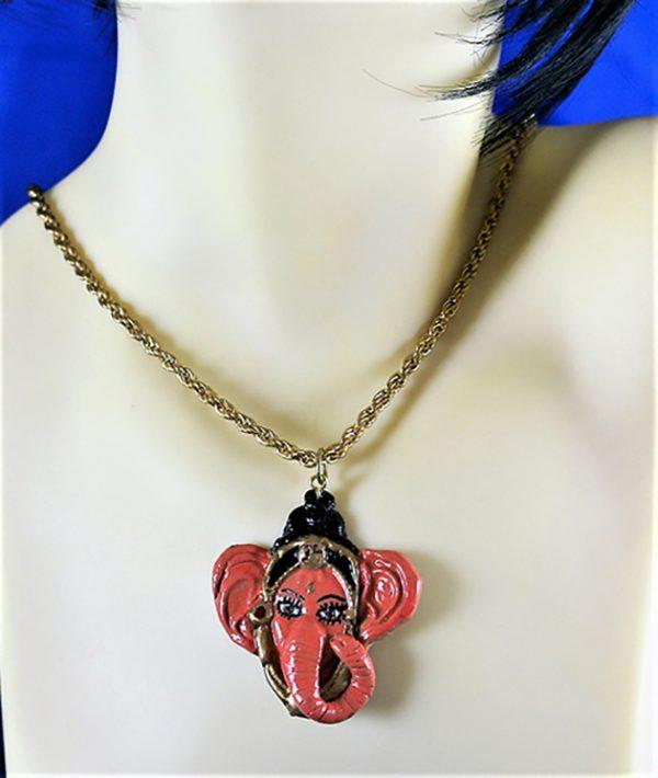 Ganesha 3D cameo head necklace