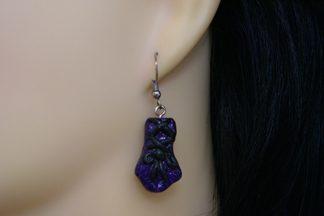 Gothic Lolita purple 3D corset glove earrings