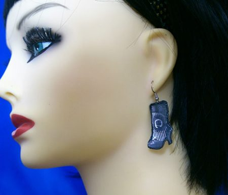 Gothic burlesque boot earrings