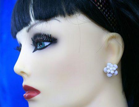 Lolita pearl 3D flower stud earrings