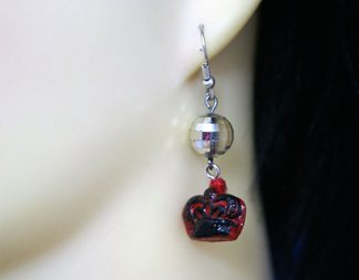 Crown and silver bead earrings