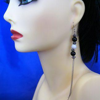 Bead and chain tassel earrings
