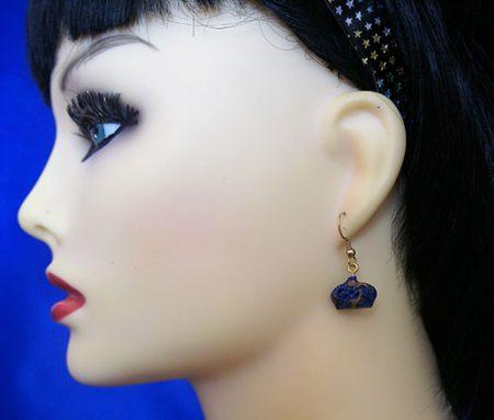 Lolita Harajuku 2D blue marble crown earrings