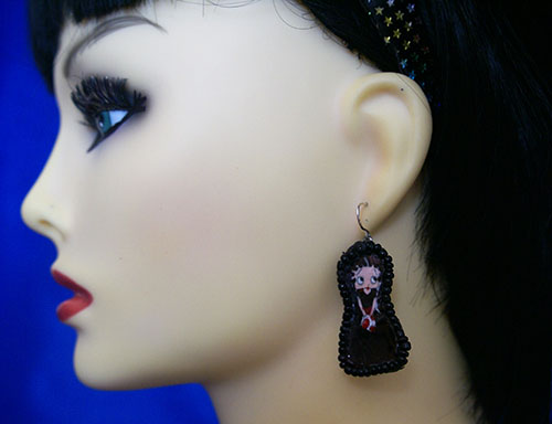 Lolita Betty Boop cameo earrings