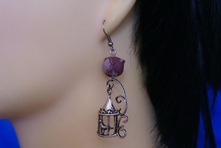Silver birdcage and ball earrings
