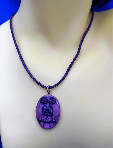 Siamese skeleton twin (purple marble effect) cameo necklace