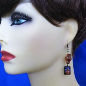 Ganesha and brown bead earrings