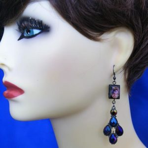 Baby Krishna and peacock jewel earrings