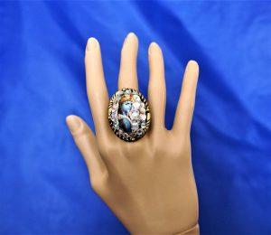 Krishna iridescent jewel cameo ring