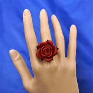 Red rose 3D cameo ring