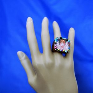 Ganesha square cameo and jewel ring