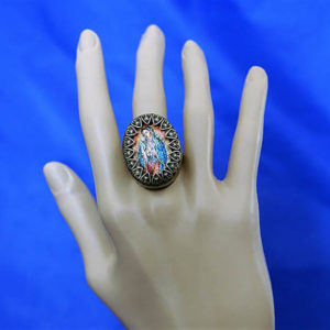 Mary stained glass cameo ring