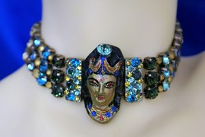 Lakshmi 3D cameo and jewel choker necklace