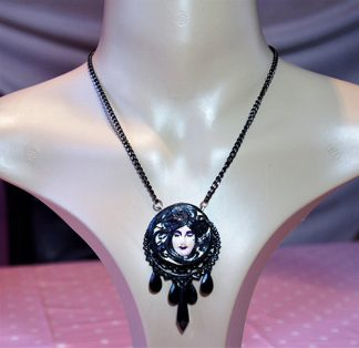 Gothic Lolita black 3D cameo lady drop bead necklace