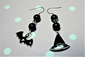 Black bat and witch hat and bead earrings