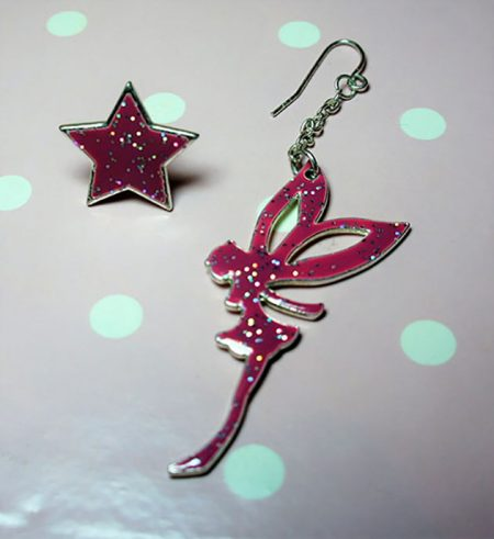 Gothic punk fantasy pink glitter fairy and star earrings