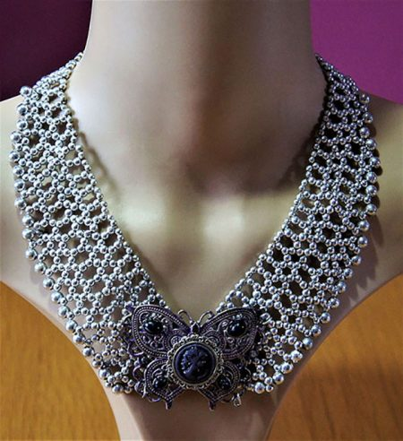 Black and Purple lady butterfly cameo and bead bib necklace