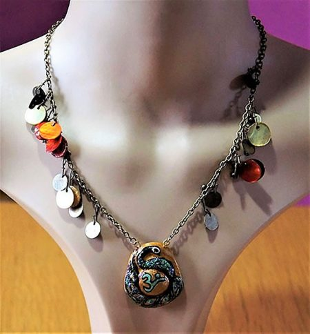 Peacock OM cameo with bead charm chain necklace