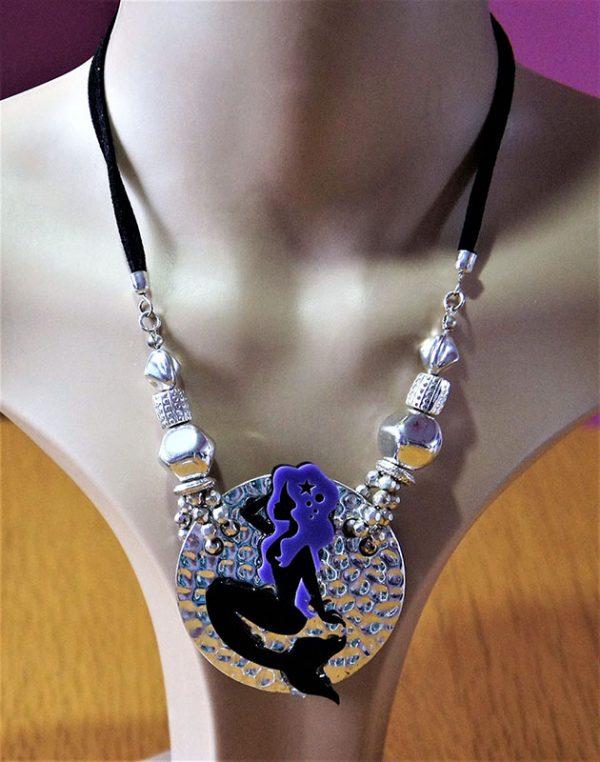 3D purple hair mermaid pendant