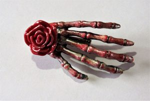 Gothic Rockabilly red and gold rose skeleton hand hair clip