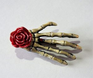Gothic Lolita skeleton hand and rose hair clip